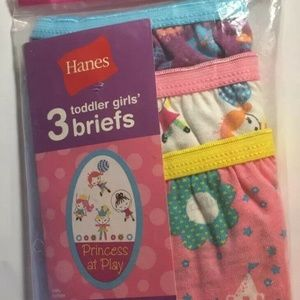 Hanes GIRLS 3-Pack (1)  Toddler Brief 4T Princess